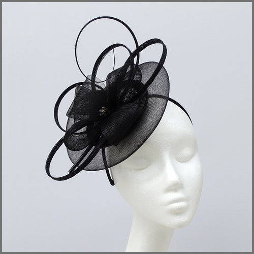 Black Special Occasion Disc Fascinator with Loops