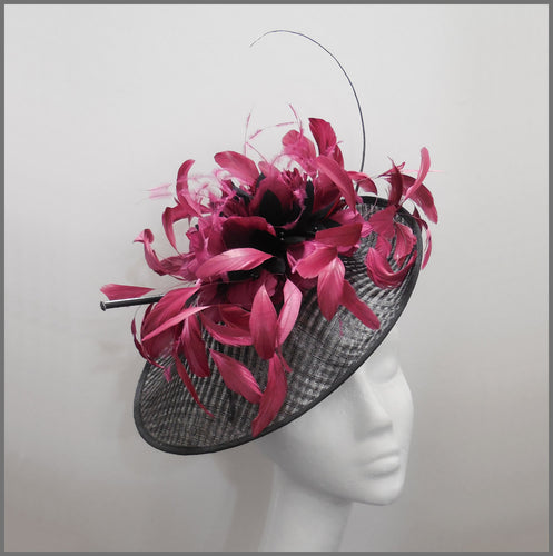 Black & Red Wine Claret Feather Disc Fascinator