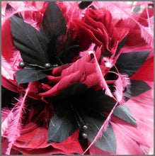 Load image into Gallery viewer, Black & Red Wine Claret Feather Disc Fascinator