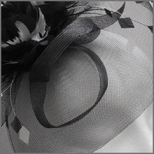 Load image into Gallery viewer, Floral Wedding Disc Fascinator in Black & White