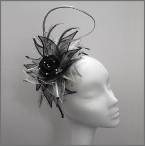 Formal Event Fascinator in Black, White & Silver