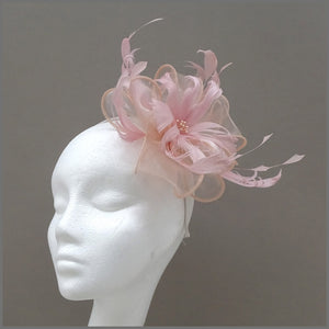 Blush Pink Floral Feather Fascinator for Wedding