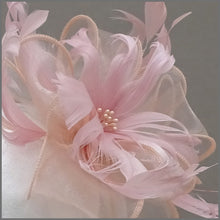 Load image into Gallery viewer, Blush Pink Floral Feather Headpiece for Wedding