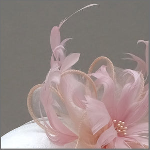 Blush Pink Floral Feather Fascinator for Formal Event