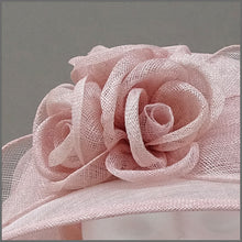 Load image into Gallery viewer, Blush Pink Ladies Sinamay Wedding Hat with Roses