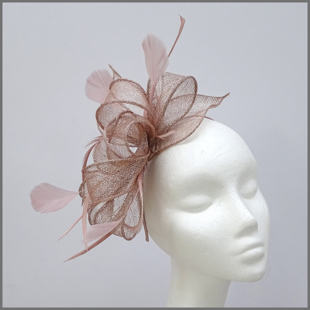 Blush Pink & Silver Special Occasion Feather Fascinator