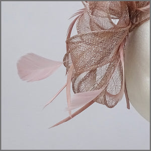 Blush Pink & Silver Feather Fascinator on Headband