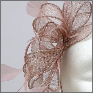 Blush Pink & Silver Special Occasion Feather Ladies Headpiece
