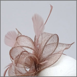 Blush Pink & Silver Special Occasion Feather Headpiece