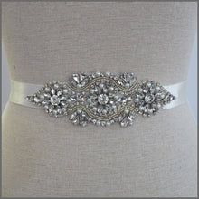 Load image into Gallery viewer, Bridal Wedding Belt with Sparkly Crystals & Pearls