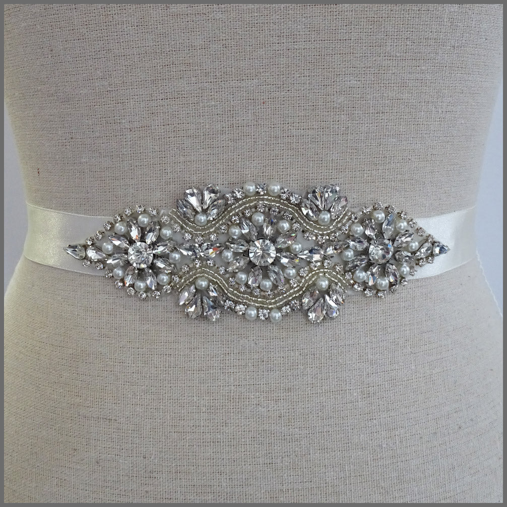 Bridal Wedding Belt with Sparkly Crystals & Pearls