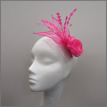 Load image into Gallery viewer, Bright Pink Cocktail Party Fascinator Headpiece