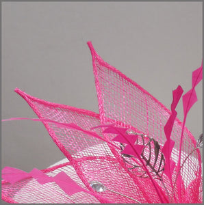 Bright Pink Cocktail Party Fascinator Headpiece