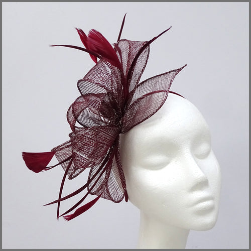 Burgundy & Silver Sparkle Sinamay Special Occasion Fascinator