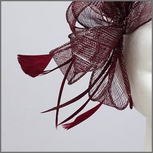 Burgundy & Silver Sparkle Sinamay Fascinator on Headband