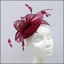 Load image into Gallery viewer, Burgundy Feather Mini Disc Fascinator for Wedding Guest