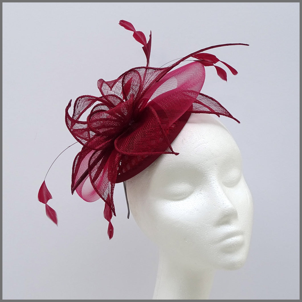 Burgundy Feather Mini Disc Fascinator for Wedding Guest