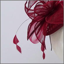 Load image into Gallery viewer, Burgundy Mini Disc Fascinator on Headband