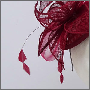 Burgundy Mini Disc Fascinator on Headband