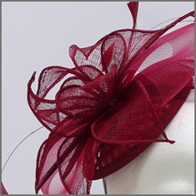 Load image into Gallery viewer, Burgundy Sinamay Feather Hatinator for Race Day
