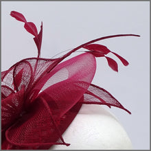 Load image into Gallery viewer, Special Occasion Burgundy Mini Disc Fascinator on Headband