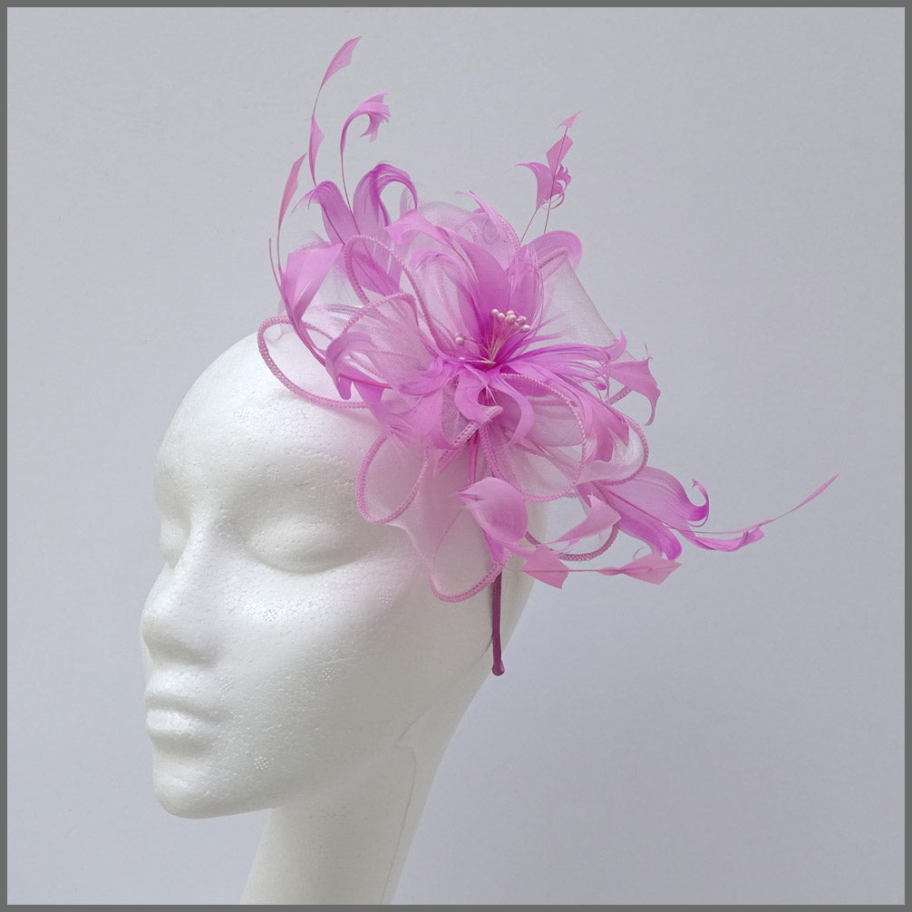 Candy Pink Floral Feather Fascinator for Wedding
