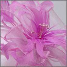Load image into Gallery viewer, Candy Pink Floral Feather Fascinator with Beads