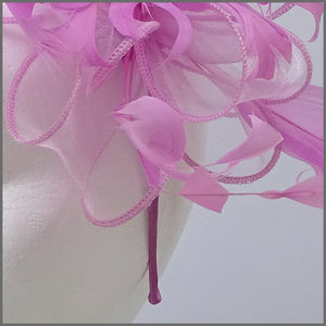 Candy Pink Floral Feather Fascinator on Headband