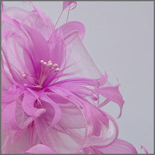 Load image into Gallery viewer, Candy Pink Floral Feather Fascinator for Races