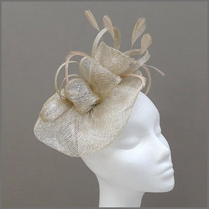 Champagne Gold Formal Event Wedding Fascinator on Headband