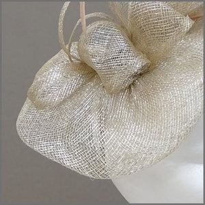 Champagne Gold Wedding Fascinator with Sinamay Loops