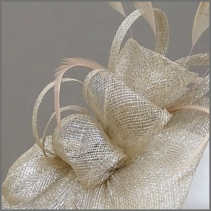 Champagne Gold Formal Feather Fascinator Headpiece