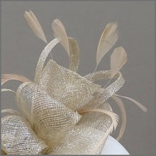 Load image into Gallery viewer, Champagne Gold Wedding Guest Feather Fascinator
