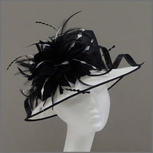 Load image into Gallery viewer, Formal Event Ladies Feather Hat in Black & White