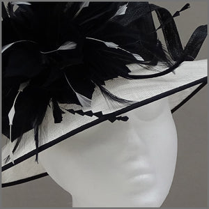 Formal Event Ladies Feather Hat in Black & White