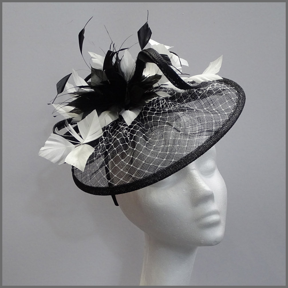 Classic Black & White Disc Fascinator Headband