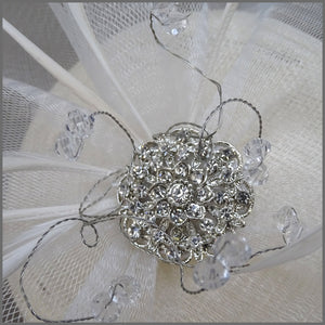 Classic White Pillbox Fascinator with Crystals