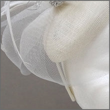 Load image into Gallery viewer, Classic White Pillbox Fascinator with Crystals