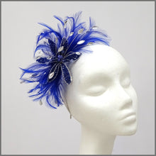 Load image into Gallery viewer, Cobalt Blue Feather Flower Fascinator for Wedding