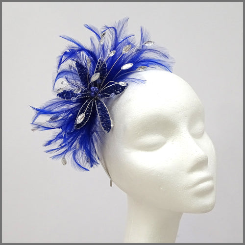 Cobalt Blue Feather Flower Fascinator for Wedding