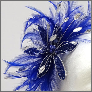 Cobalt Blue Feather Fascinator with Bead & Crystal Flower