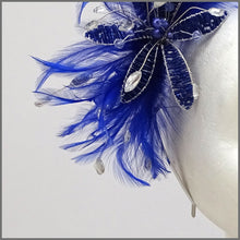 Load image into Gallery viewer, Cobalt Blue Feather Flower Fascinator on Headband