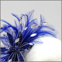 Load image into Gallery viewer, Cobalt Blue Special Occasion Feather Flower Headpiece