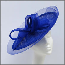 Load image into Gallery viewer, Cobalt Blue Wedding Disc Fascinator on Headband