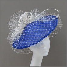 Load image into Gallery viewer, Cobalt Blue & White Wedding Guest Disc Fascinator with Netting