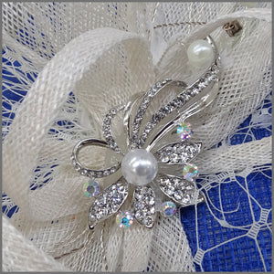 Cobalt Blue & White Wedding Disc Fascinator with Pearl & Diamanté