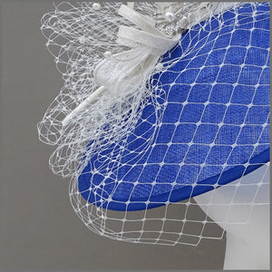Cobalt Blue & White Special Occasion Hatinator with Netting