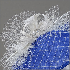 Cobalt Blue & White Ladies Day Hatinator with Netting