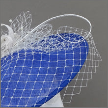 Load image into Gallery viewer, Cobalt Blue & White Race Day Sinamay Disc Fascinator on Headband