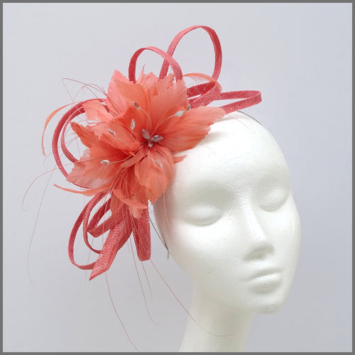 Coral Feather Flower Fascinator Headband for Wedding Guest